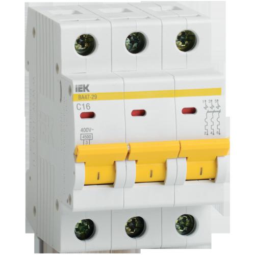 Выключатель автоматический модульный IEK ВА47-29 3Р 63А 4,5 кА х-ка С