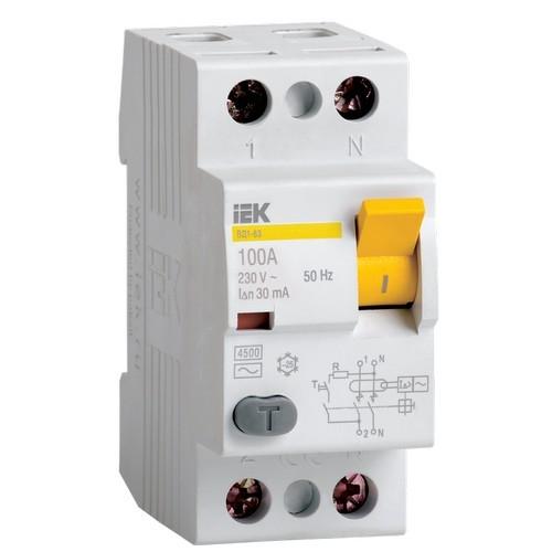 Выключатель дифференциальный IEK ВД1-63 (УЗО) 2Р 100А 300мА