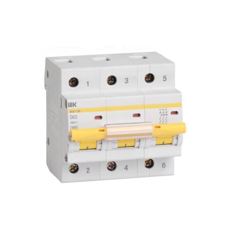 Выключатель автоматический модульный IEK ВА47-100 3Р 100А 10кА х-ка С