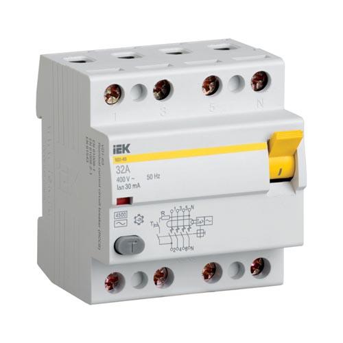 Выключатель дифференциальный IEK ВД1-63 (УЗО) 4Р 100А 300мА